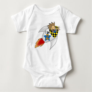 2 year old boy in a rocket baby bodysuit