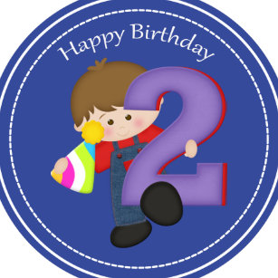 2 Year Old Boys Happy Birthday Button