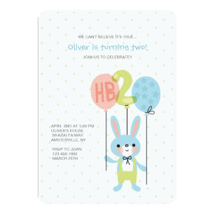 2 Year Old Bunny Birthday Invitation