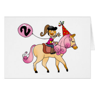 2 year old girl on a pony card