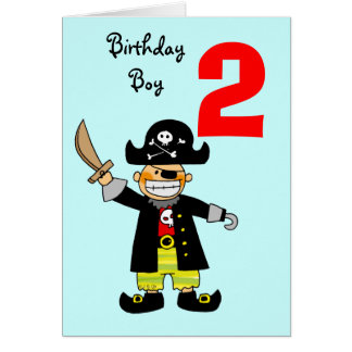 2 year old pirate boy greeting card