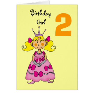 2 year old princess (blonde hair) card