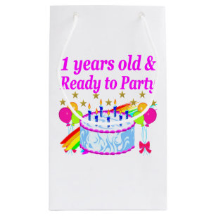 2 YEARS OLD AND READY TO PARTY BIRTHDAY GIRL SMALL GIFT BAG
