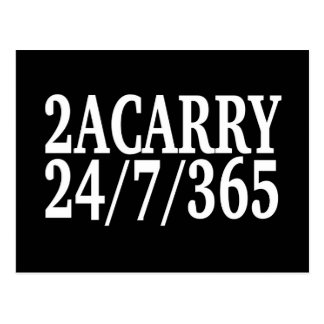 2A CARRY 24/7/365 GUN RIGHTS POSTCARD