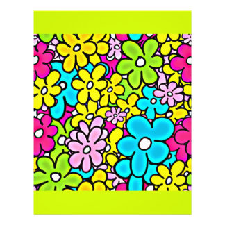 2bght BRIGHT COLORFUL FLOWERS PATTERN FUN PARTY Y Flyers
