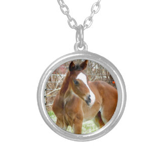 2CUTE HORSE FOAL BABY PONY SILVER PLATED NECKLACE