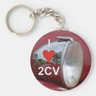 2CV duck headlight I love Basic Round Button Key Ring
