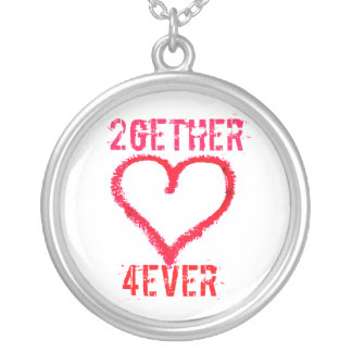 2gether 4ever teen love on valentines day round pendant necklace