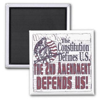 2nd Amendment Defends US Square Magnet