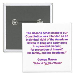 2nd Amendment - George Mason 15 Cm Square Badge