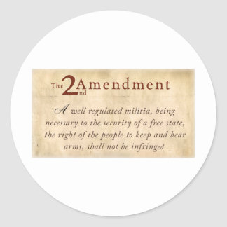 2nd Amendment Vintage Classic Round Sticker