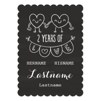 2nd Anniversary Gift For Her Chalk Personalized 13 Cm X 18 Cm Invitation Card