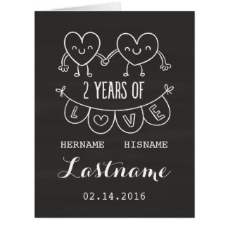 2nd Anniversary Gift For Her Chalk Personalized Card