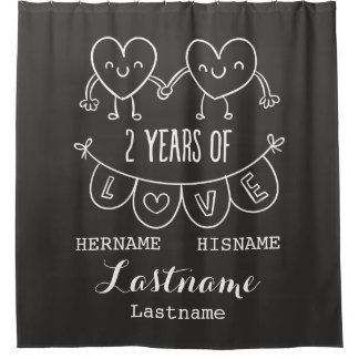 2nd Anniversary Gift For Her Chalk Personalized Shower Curtain
