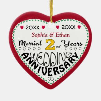 2nd Anniversary Gift Heart Shaped Christmas Ceramic Heart Decoration