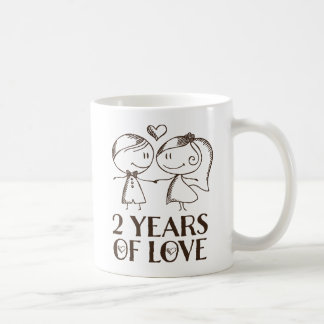 2nd Anniversary Hand Drawn Couples Valentine Mug