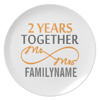 2nd Anniversary Mr. & Mrs Infinity Personalized Plate