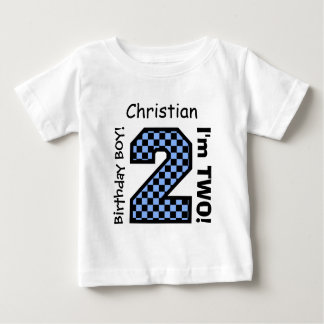 2nd BABY Birthday Big Number A26 CHECKERS Baby T-Shirt