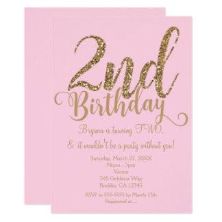 2nd BIRTHDAY 2 Pink & Gold Party TWO Invitations
