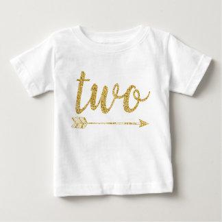 2nd Birthday Baby Glitter-Print Baby T-Shirt