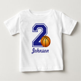 2nd Birthday boy basketball personalized Baby T-Shirt