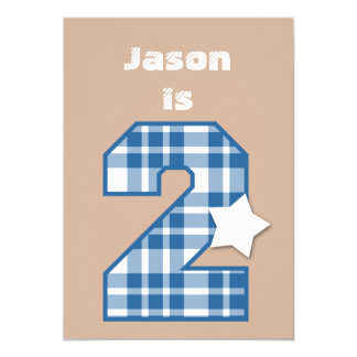 2nd Birthday Boy Custom Name BLUE Plaid B02 Card