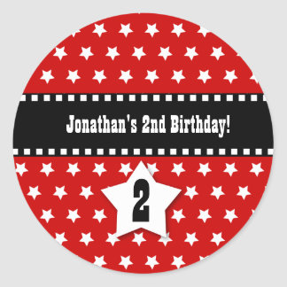 2nd Birthday Boy Stars Dashed Ribbon A01 Classic Round Sticker