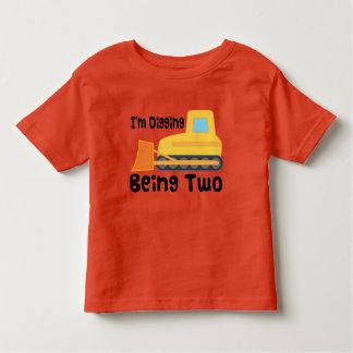 2nd Birthday Bulldozer Construction Truck Toddler T-shirt