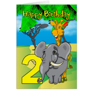 2nd Birthday Card - Elephant, Giraffe, Jungle