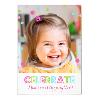 2nd Birthday Colorful Confetti Photo Invitation