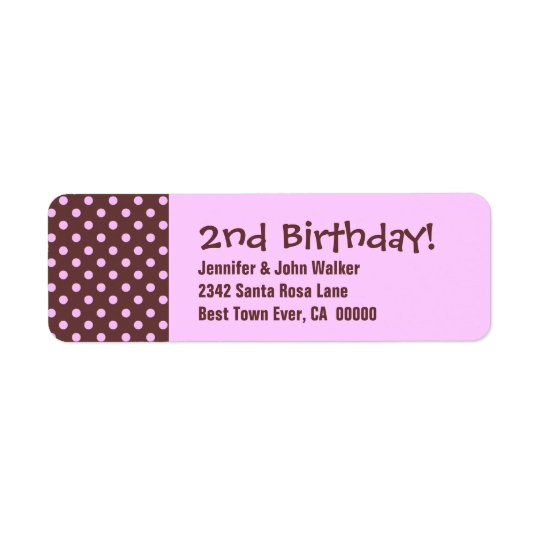 2nd Birthday Cute Polka Dot Pattern Return Address Label