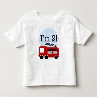 2nd Birthday Fire Truck Toddler T-Shirt