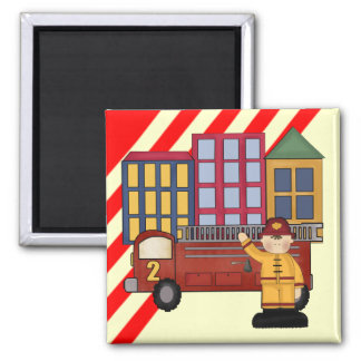 2nd Birthday Firefighter Square Magnet