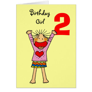 2nd birthday girl greeting card