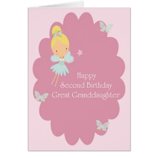 2nd Birthday Great Granddaughter Pink Fairy Card