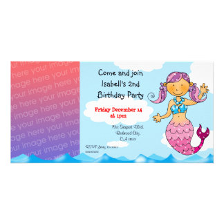 2nd birthday mermaid girl party personalized photo cards