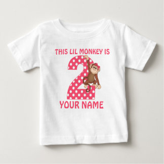 2nd Birthday Monkey Girl Personalised T-shirt