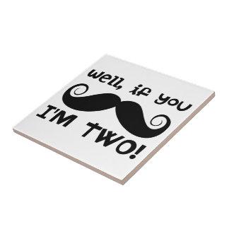 2nd Birthday Mustache Tiles