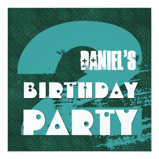 2nd Birthday Party 2 Year Old Grunge Design 13 Cm X 13 Cm Square Invitation Card