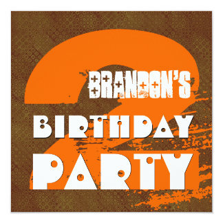 """2nd Birthday Party 2 Year Old Grunge Design 5.25"""" Square Invitation Card"""