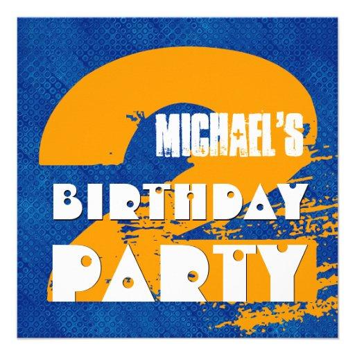 2nd Birthday Party 2 Year Old Grunge Design Custom Invitations