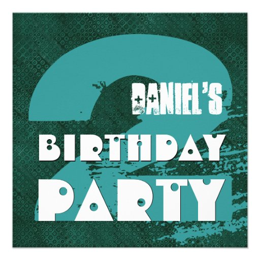 2nd Birthday Party 2 Year Old Grunge Design Invitations