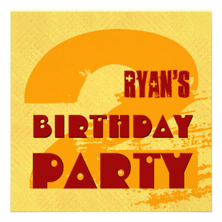 2nd Birthday Party 2 Year Old Grunge Design Invite