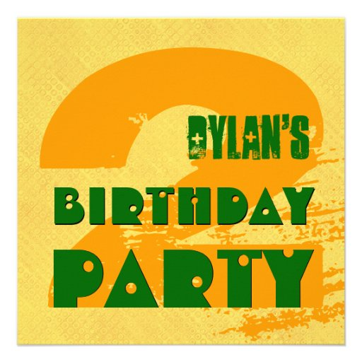 2nd Birthday Party 2 Year Old Grunge Design Custom Invite
