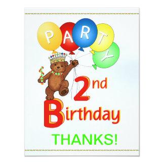 2nd Birthday Party BearThank You 11 Cm X 14 Cm Invitation Card