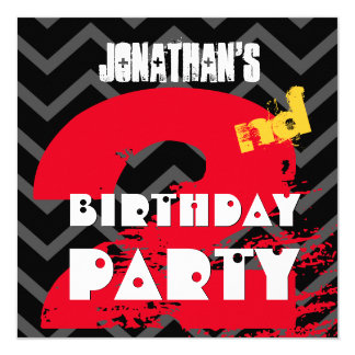 2nd Birthday Party Grunge and Chevrons A02 13 Cm X 13 Cm Square Invitation Card