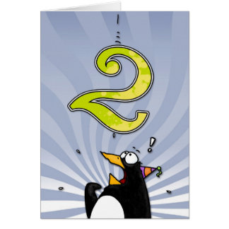 2nd Birthday - Penguin Surprise Greeting Card