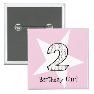 2nd Birthday Pink Baseball Star Button