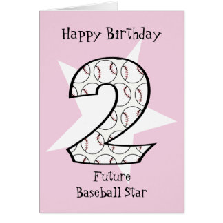 2nd Birthday Pink Baseball Star Card