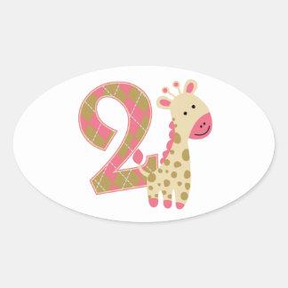 2nd Birthday Pink Giraffe Oval Sticker